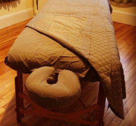 Table used to help clients benefit from massage